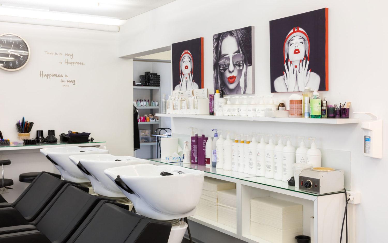 Coiffeur Salon Waschbecken im Detail
