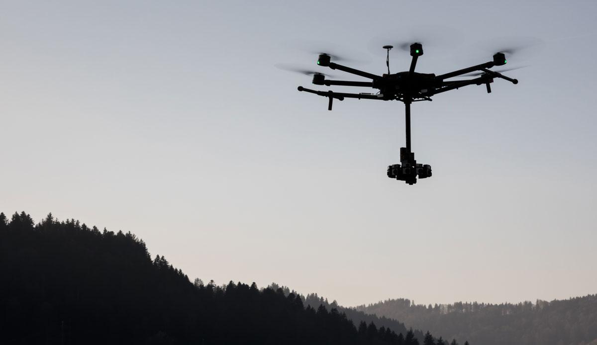 Unsere Drohne bei einem Einsatz mit speziellem 360° Rig