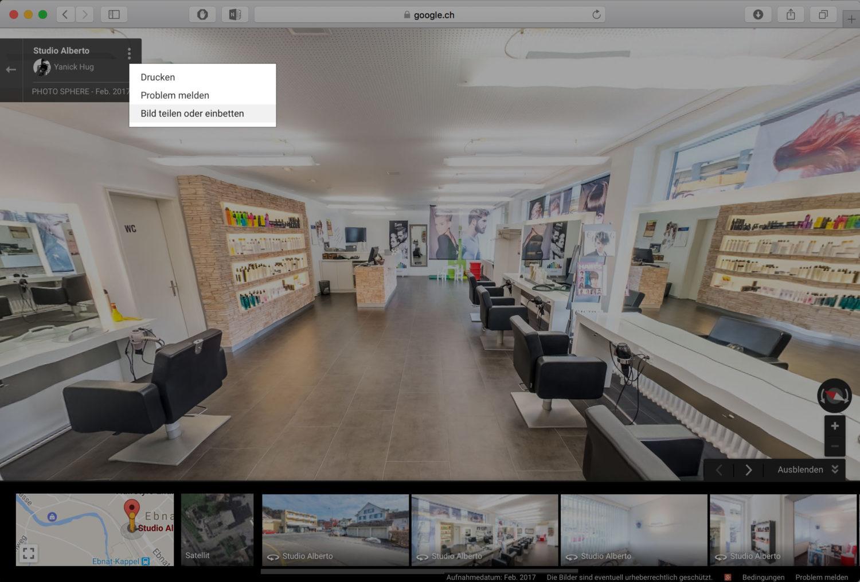 Google Street View Tour von meinem Geschäft auf meiner Webseite einbinden