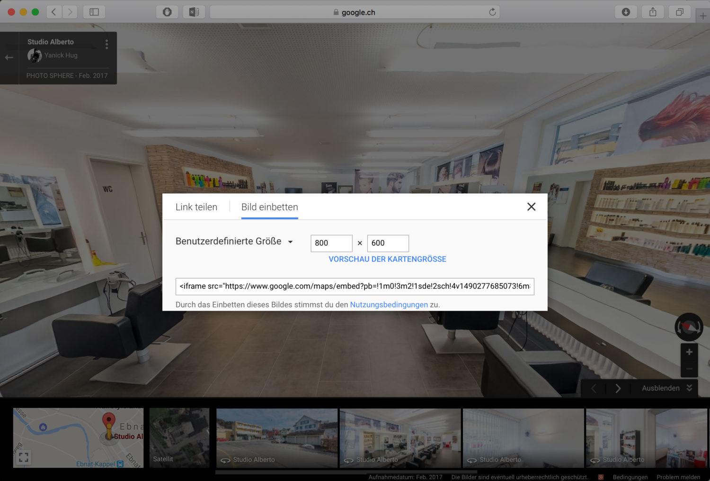 Wie bindet man eine Google Street View Tour auf der eigenen Webseite ein?