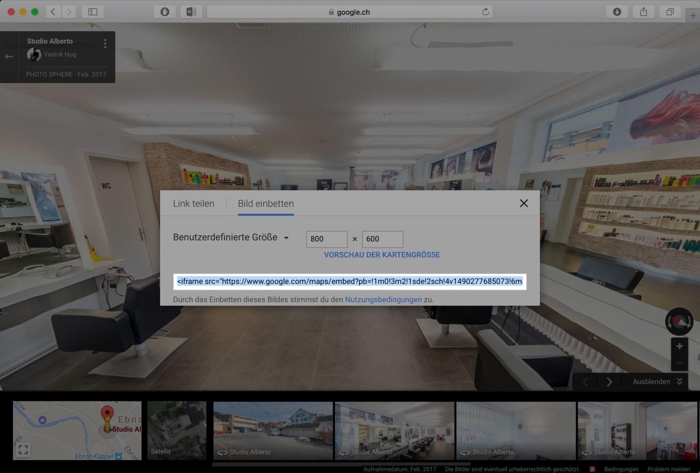 Anleitung wie man eine Google Street View Tour auf der eigenen Webseite einbinden kann