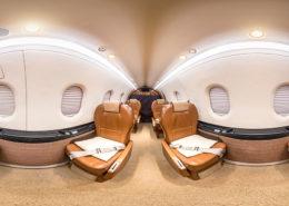 360° virtuelle Tour durch einen Privatjet