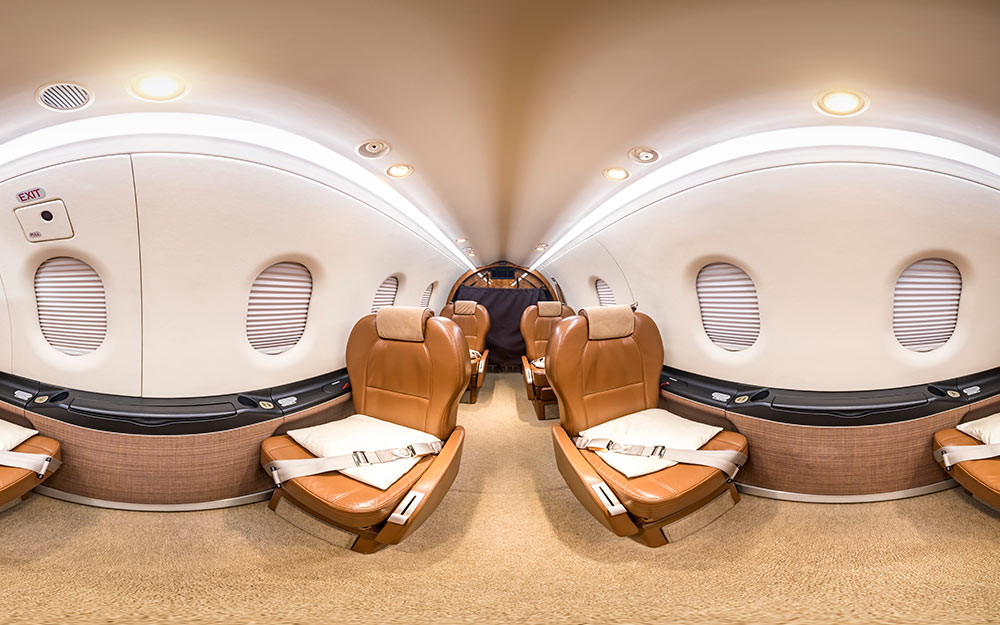 360° virtuelle Tour durch einen Privatjet